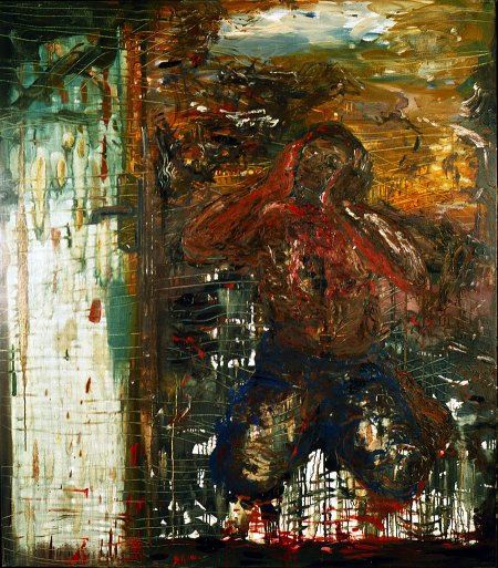 Doris Bloom; Cut Throat 1. 1995. Olie på lærred. 170 x 150 cm.