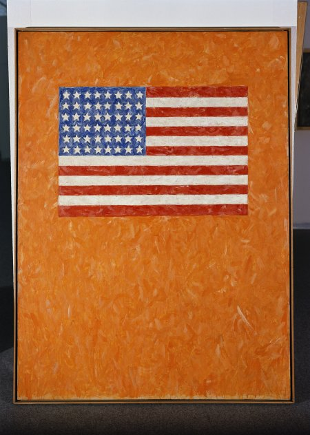 Jasper Johns. Flag on Orange Field. 1957.