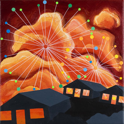 Fireworks, 2006. Akryl og collage p� denim. 35x35 cm, Foto: Anders Sune Berg