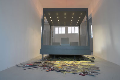 Gone (collection of once was), 2006, Mixed-media installation collage: wood, paint, halogen lamps, photocopies, colored papers, 250 x 320 x 390 cm  (98 x 128 x 153 inches), Courtesy Peres Projects, Los Angeles Berlin