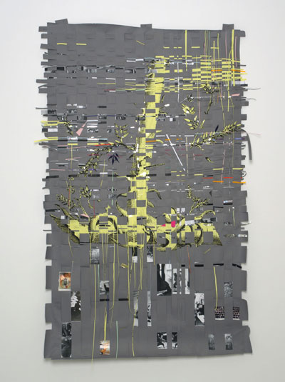 Tchechenia on my Mind, 2006, Mixed-media collage – photocopies, colored paper, silver foil, enamel paint, adhesive on paper, 237 x 160 cm, Courtesy Peres Projects, Los Angeles Berlin