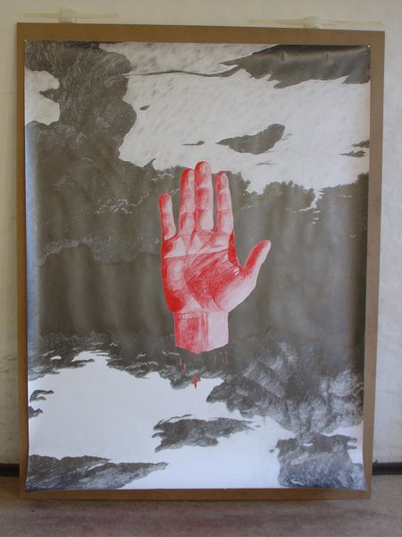 Red hand in the sky, 200  X 150 cm, blyant p� papir, 2005, Courtesy: Susanne Ottesen