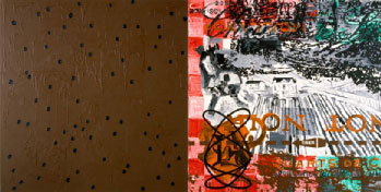 La double monde, 1988, Acrylic on canvas, 162 x 324 cm, Privateje