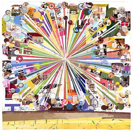 Pariswheel, 2001. Collage på papir, 200 x 200 cm. Foto: Jochen Littkemann. Courtesy: Contemporary Fine Arts, Berlin